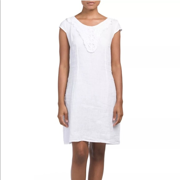 da7d9a0739 lina tomei Dresses   Skirts - Lina Tomei White Linen Crochet Shift Dress